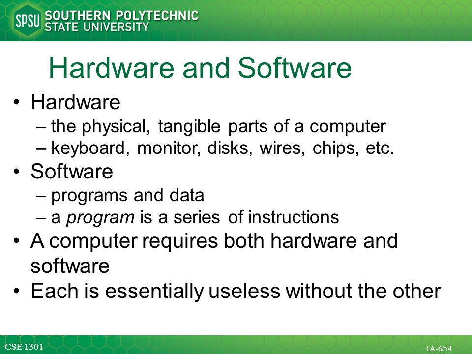 CSE 1301 1A-7/54 Basic Computer Concepts Hardware –Central Processing Unit –Memory and Storage Devices Operating Systems Application Software Computer Networks and the Internet
