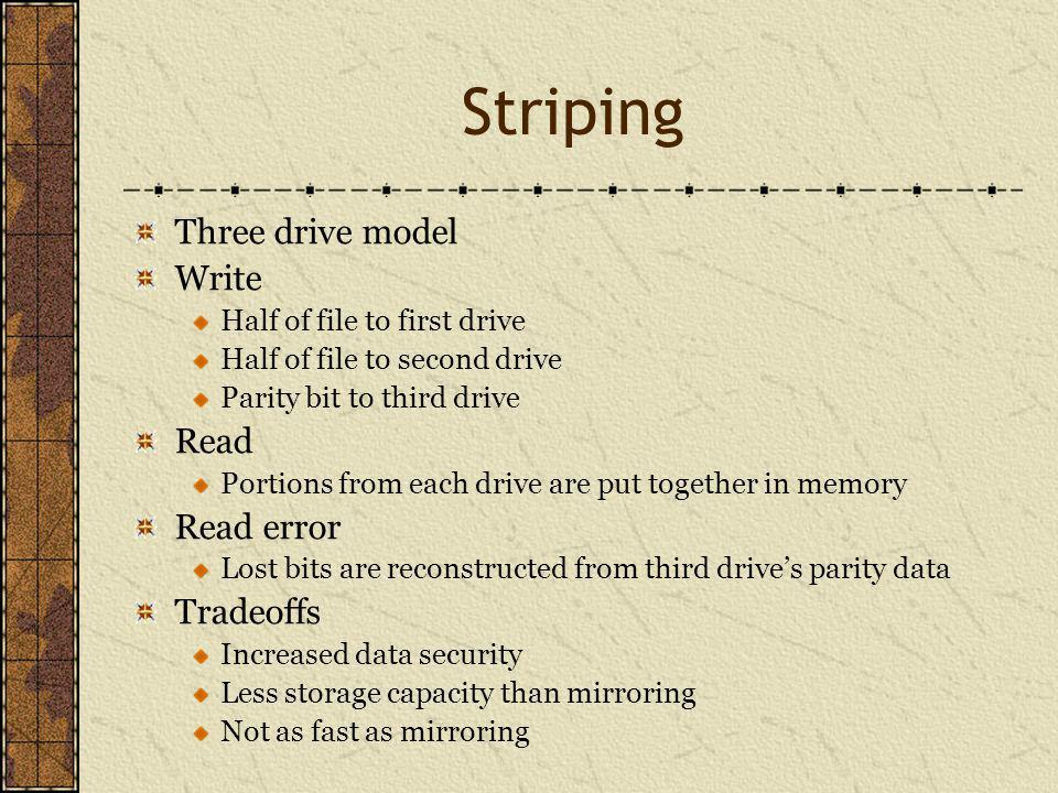 Three drive model Write Half of file to first drive Half of file to second drive Parity bit to third drive Read Portions from each drive are put together in memory Read error Lost bits are reconstructed from third drives parity data Tradeoffs Increased data security Less storage capacity than mirroring Not as fast as mirroring