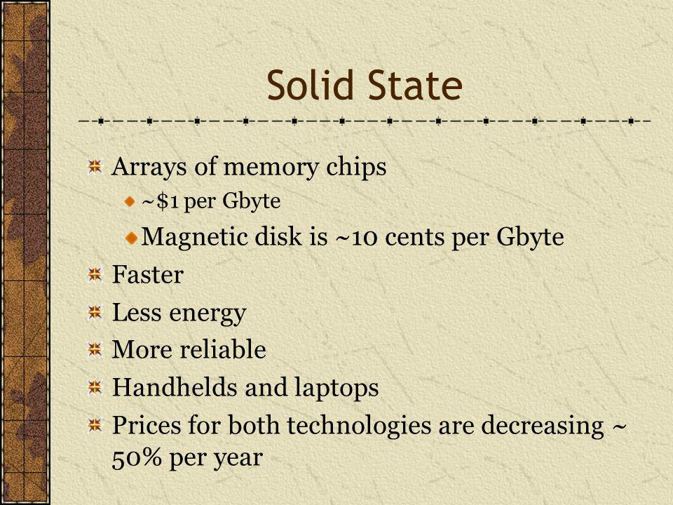 Solid State Arrays of memory chips ~$1 per Gbyte Magnetic disk is ~10 cents per Gbyte Faster Less energy More reliable Handhelds and laptops Prices for both technologies are decreasing ~ 50% per year