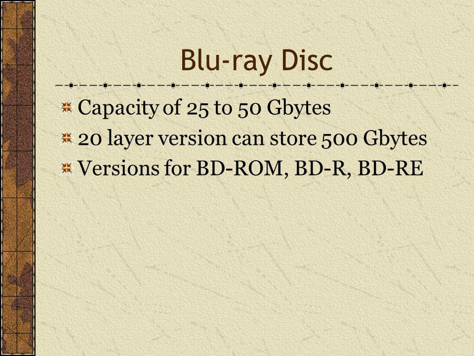 Blu-ray Disc Capacity of 25 to 50 Gbytes 20 layer version can store 500 Gbytes Versions for BD-ROM, BD-R, BD-RE