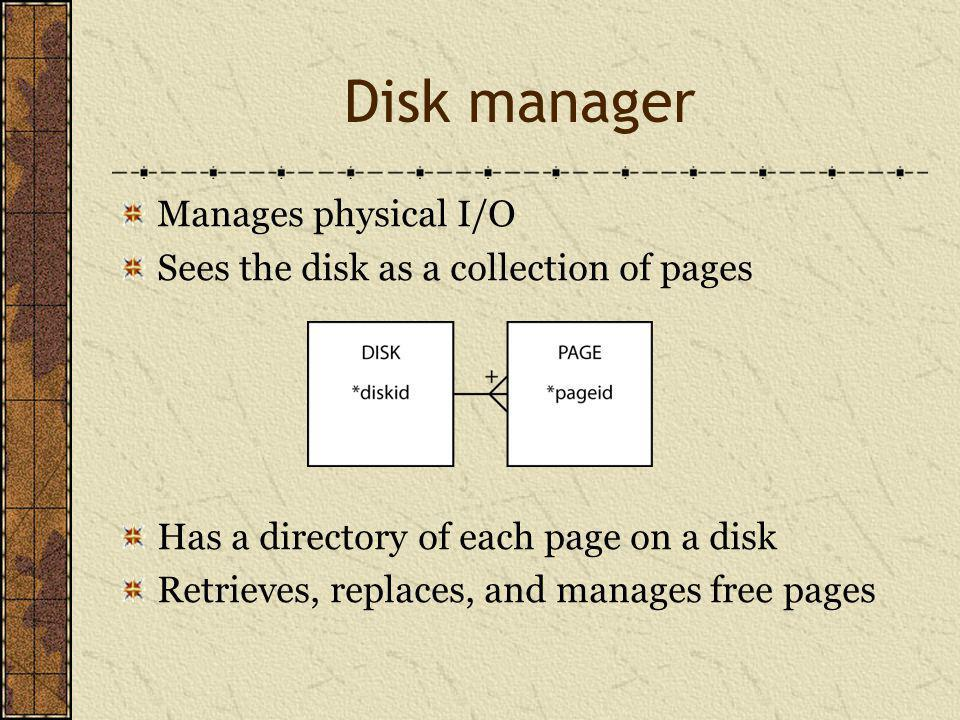 Disk manager Manages physical I/O Sees the disk as a collection of pages Has a directory of each page on a disk Retrieves, replaces, and manages free pages