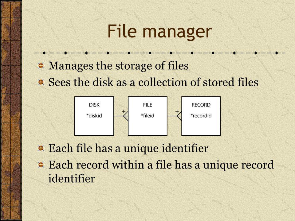 File manager Manages the storage of files Sees the disk as a collection of stored files Each file has a unique identifier Each record within a file has a unique record identifier
