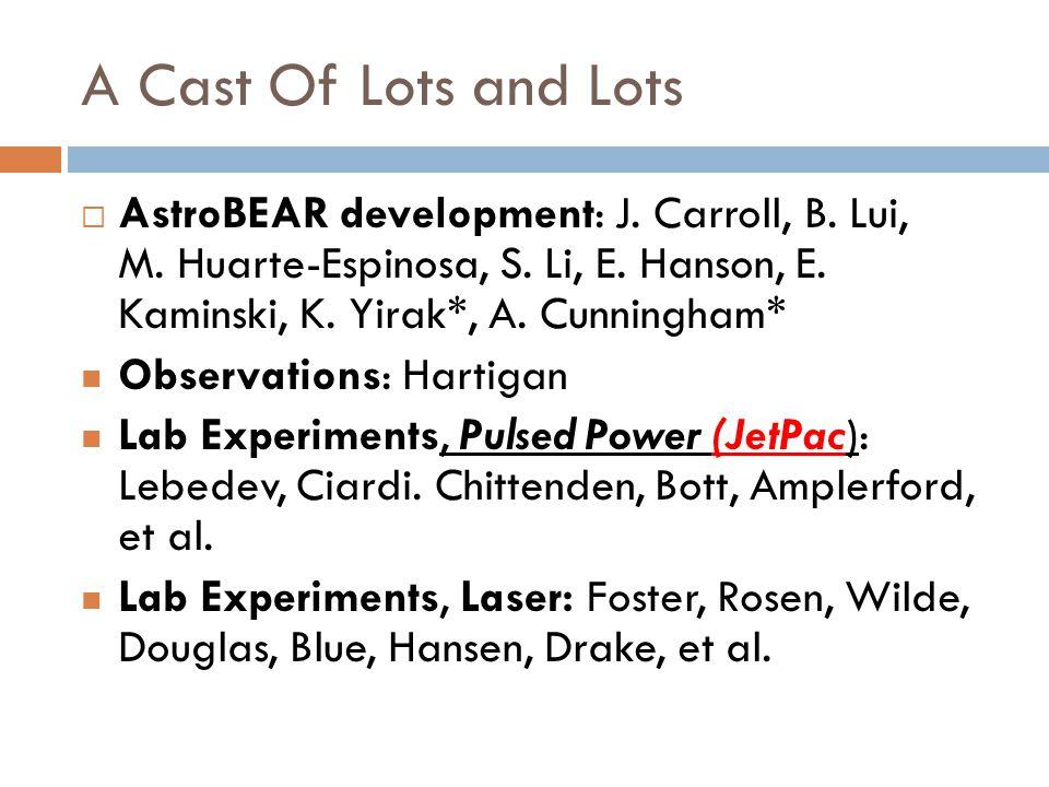 A Cast Of Lots and Lots AstroBEAR development: J. Carroll, B.