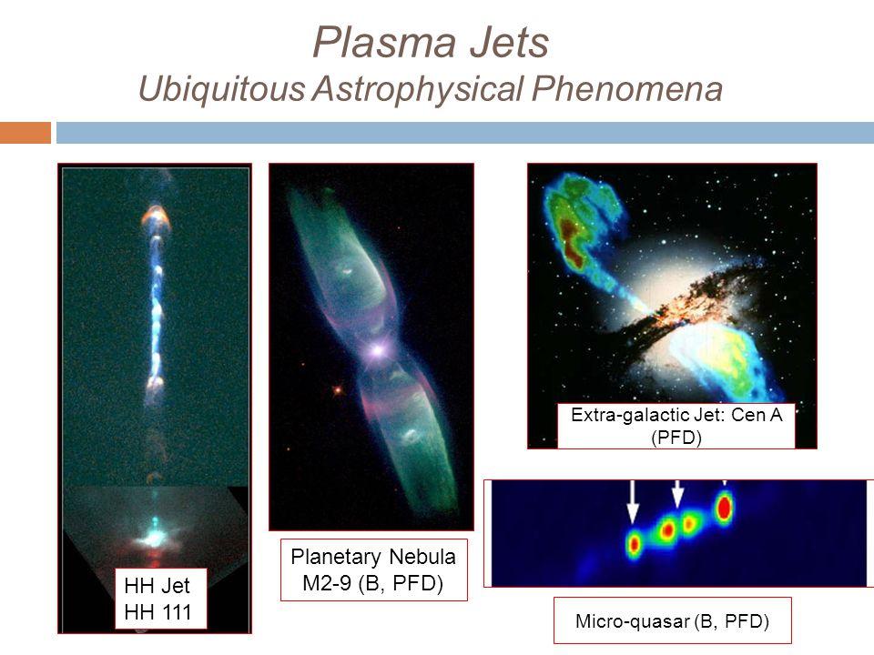 Plasma Jets Ubiquitous Astrophysical Phenomena HH Jet HH 111 Planetary Nebula M2-9 (B, PFD) Extra-galactic Jet: Cen A (PFD) Micro-quasar (B, PFD)