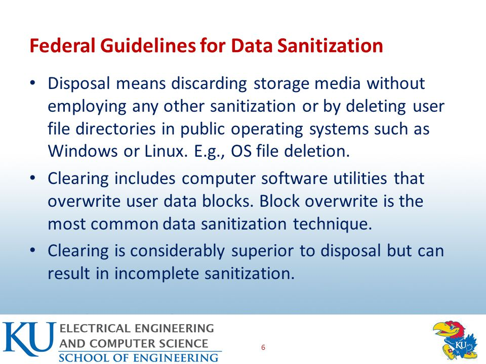 Disposal means discarding storage media without employing any other sanitization or by deleting user file directories in public operating systems such as Windows or Linux.