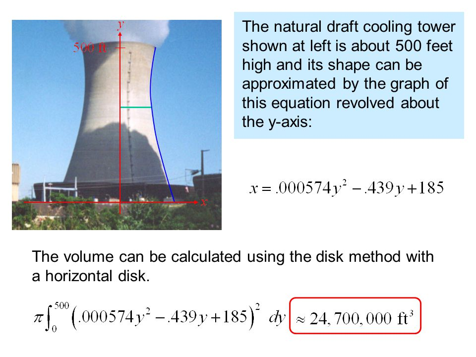 The natural draft cooling tower shown at left is about 500 feet high and its shape can be approximated by the graph of this equation revolved about the y-axis: The volume can be calculated using the disk method with a horizontal disk.