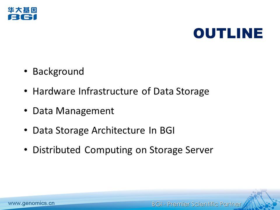 OUTLINE Background Hardware Infrastructure of Data Storage Data Management Data Storage Architecture In BGI Distributed Computing on Storage Server