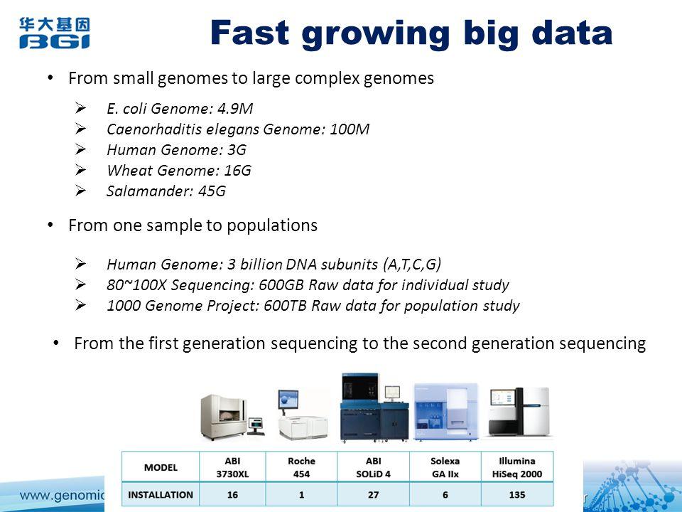 Fast growing big data E.