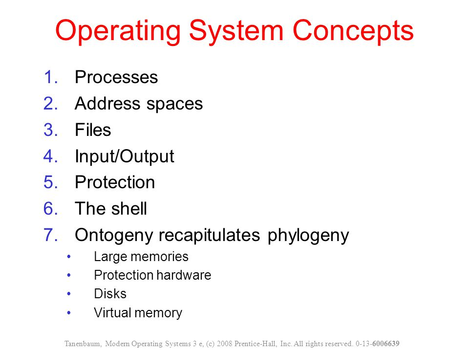 1.Processes 2.Address spaces 3.Files 4.Input/Output 5.Protection 6.The shell 7.Ontogeny recapitulates phylogeny Large memories Protection hardware Disks Virtual memory Operating System Concepts Tanenbaum, Modern Operating Systems 3 e, (c) 2008 Prentice-Hall, Inc.