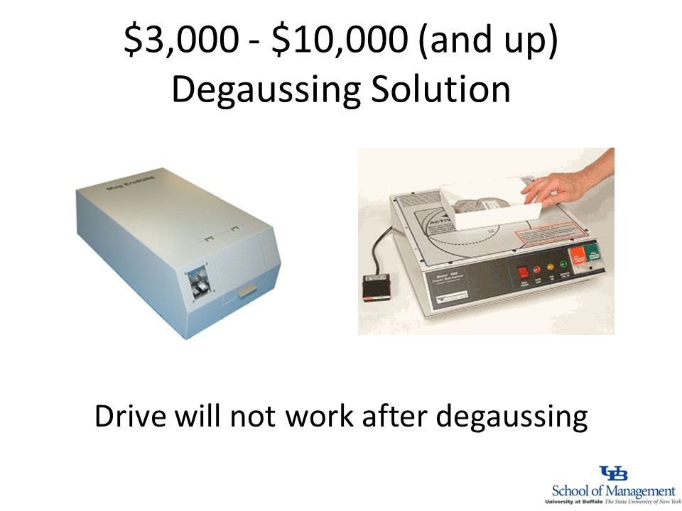 $3,000 - $10,000 (and up) Degaussing Solution Drive will not work after degaussing