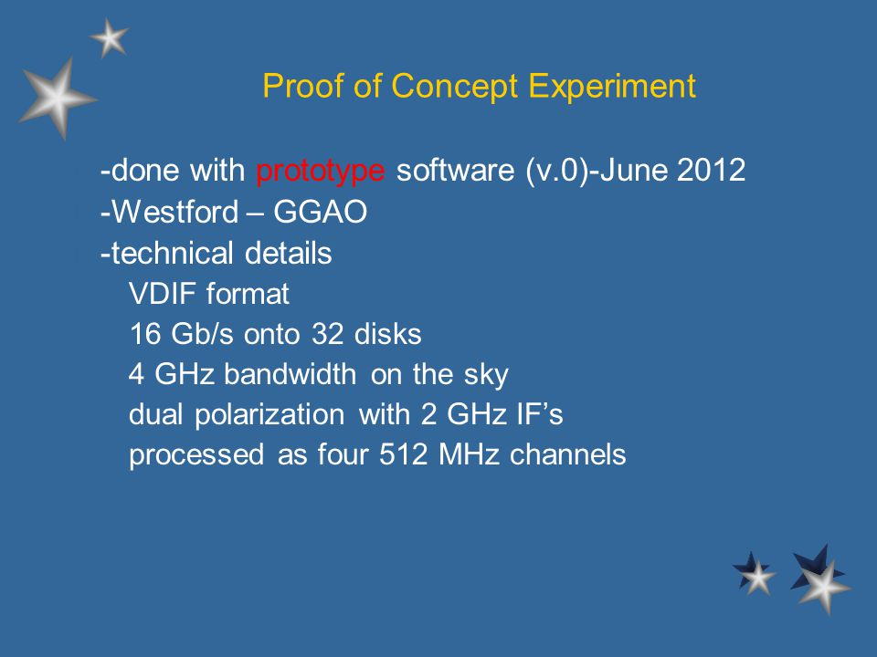 Proof of Concept Experiment l -done with prototype software (v.0)-June 2012 l -Westford – GGAO l -technical details –VDIF format –16 Gb/s onto 32 disks –4 GHz bandwidth on the sky –dual polarization with 2 GHz IFs –processed as four 512 MHz channels