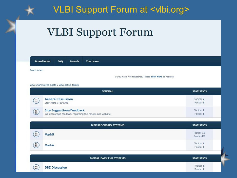 VLBI Support Forum at