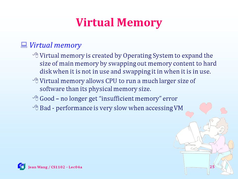 Virtual Memory Virtual memory Virtual memory is created by Operating System to expand the size of main memory by swapping out memory content to hard disk when it is not in use and swapping it in when it is in use.