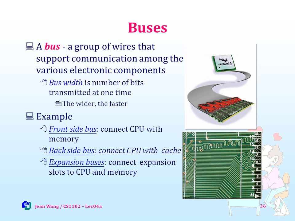 26 Buses A bus - a group of wires that support communication among the various electronic components Bus width is number of bits transmitted at one time The wider, the faster Example Front side bus: connect CPU with memory Front side bus Back side bus: connect CPU with cache Back side bus Expansion buses: connect expansion slots to CPU and memory Jean Wang / CS1102 – Lec04a