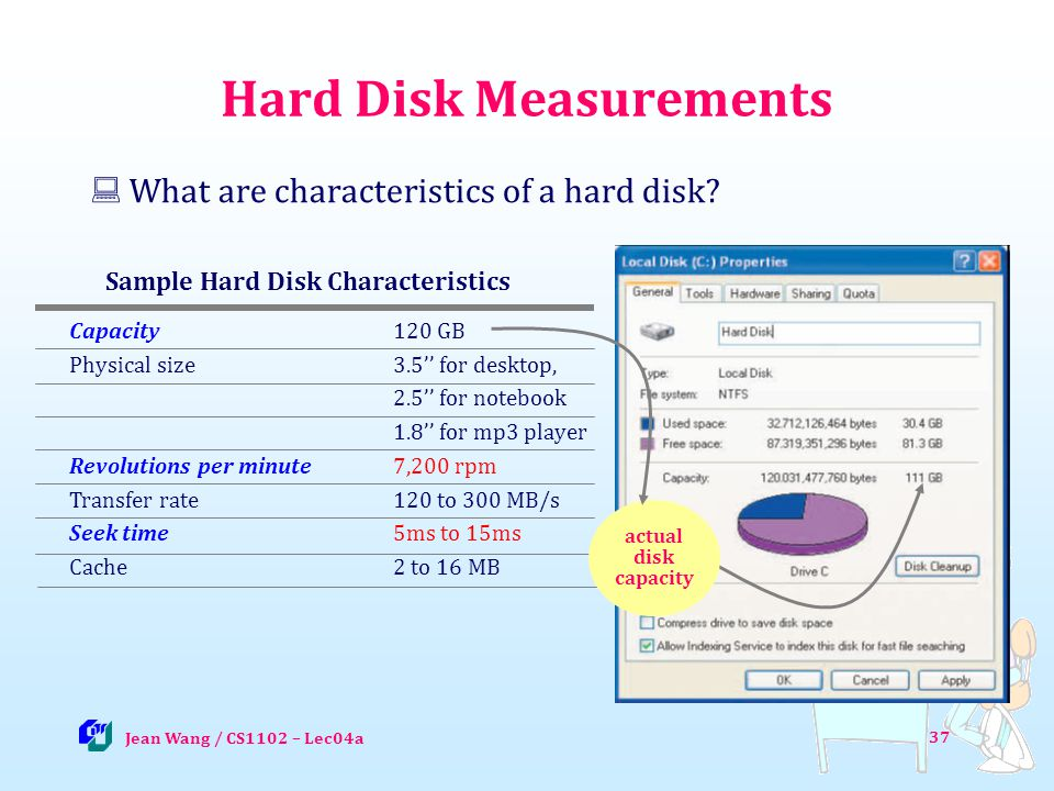 37 Hard Disk Measurements What are characteristics of a hard disk.
