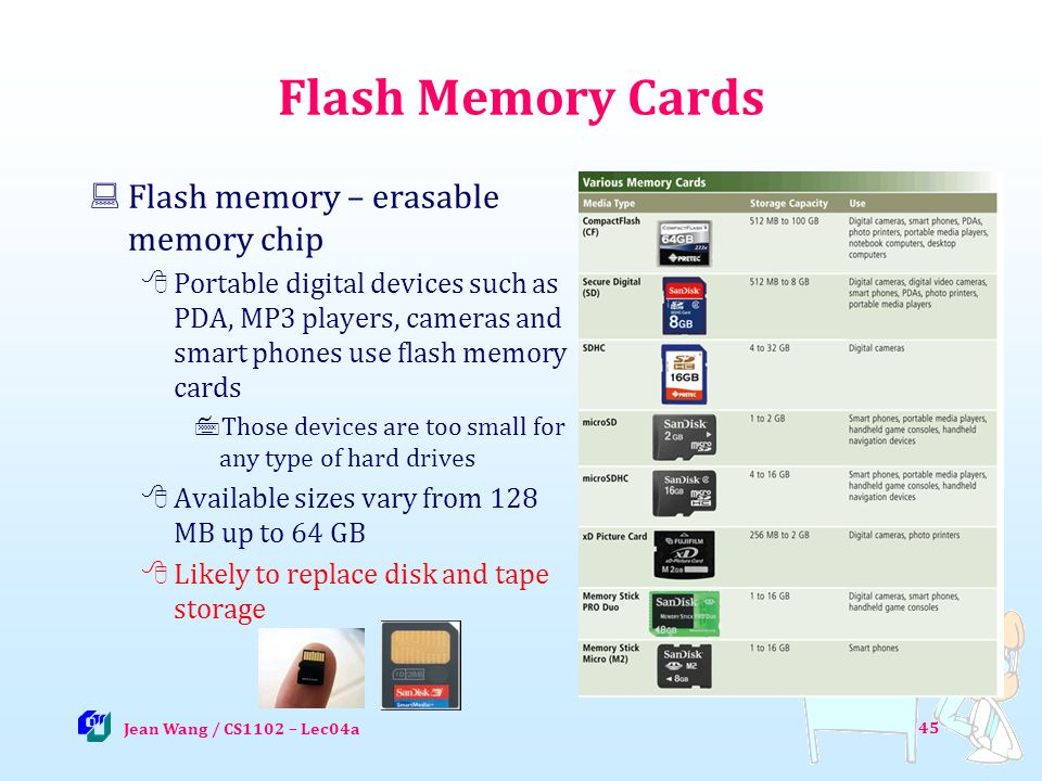 45 Flash Memory Cards Flash memory – erasable memory chip Portable digital devices such as PDA, MP3 players, cameras and smart phones use flash memory cards Those devices are too small for any type of hard drives Available sizes vary from 128 MB up to 64 GB Likely to replace disk and tape storage Jean Wang / CS1102 – Lec04a