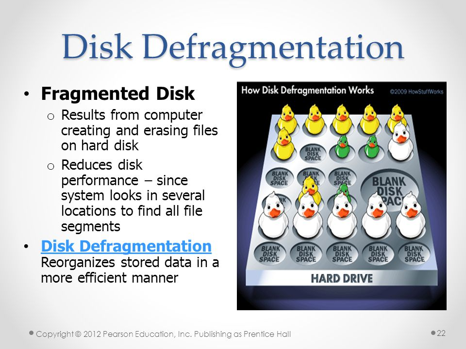 Disk Defragmentation Copyright © 2012 Pearson Education, Inc.