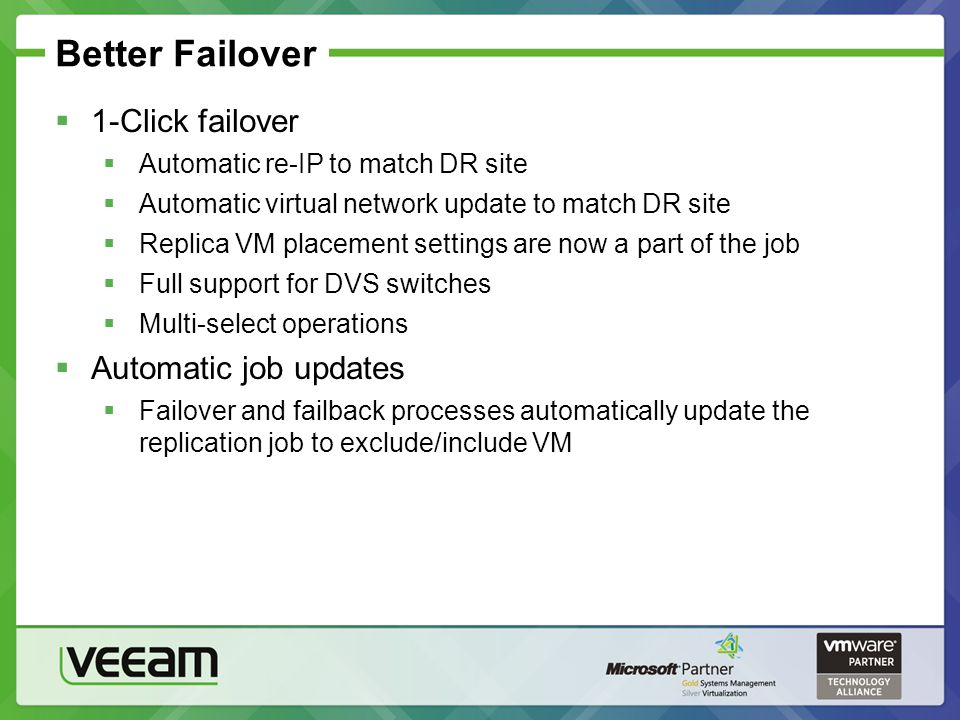 Better Failover 1-Click failover Automatic re-IP to match DR site Automatic virtual network update to match DR site Replica VM placement settings are