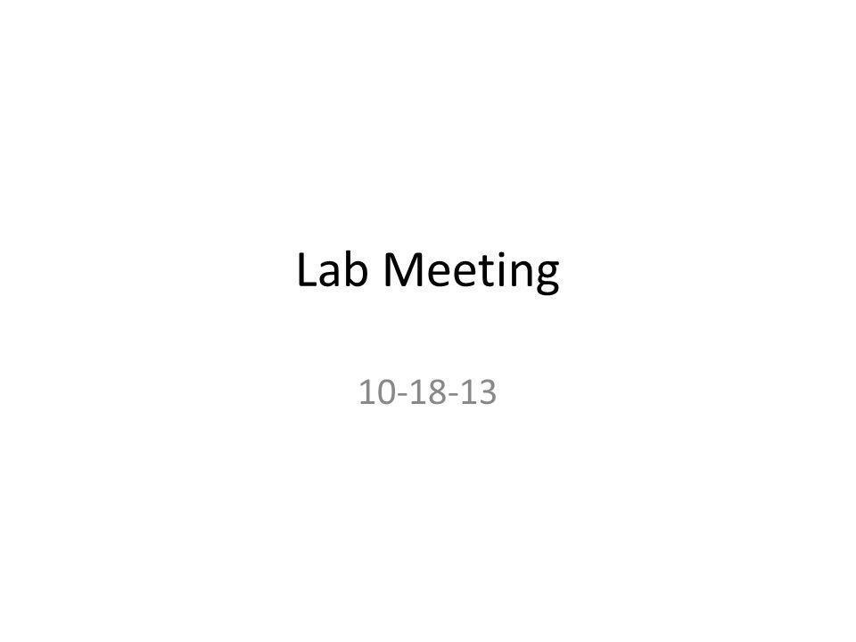 Lab Meeting 10-18-13