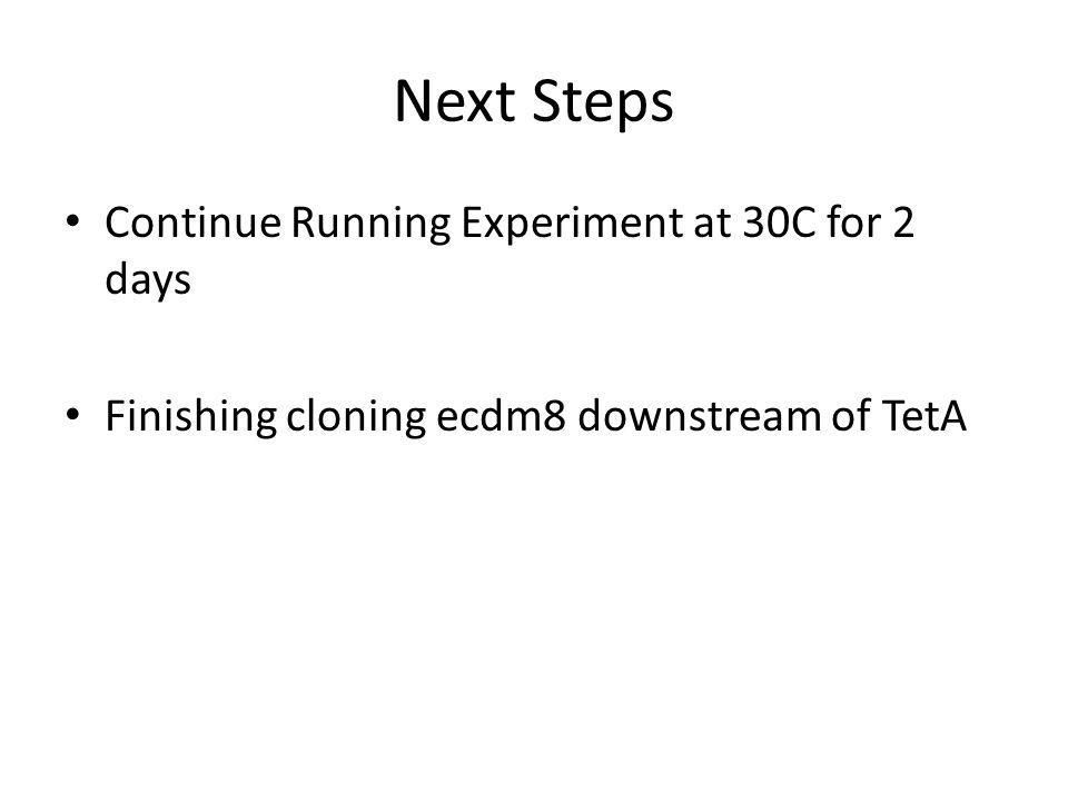 Next Steps Continue Running Experiment at 30C for 2 days Finishing cloning ecdm8 downstream of TetA