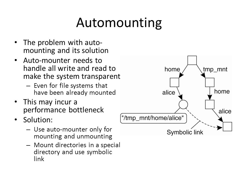 Automounting The problem with auto- mounting and its solution Auto-mounter needs to handle all write and read to make the system transparent – Even fo