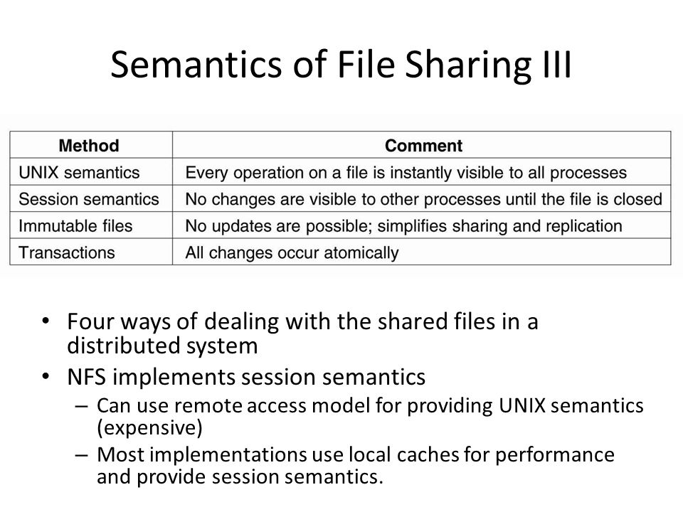 Semantics of File Sharing III Four ways of dealing with the shared files in a distributed system NFS implements session semantics – Can use remote acc