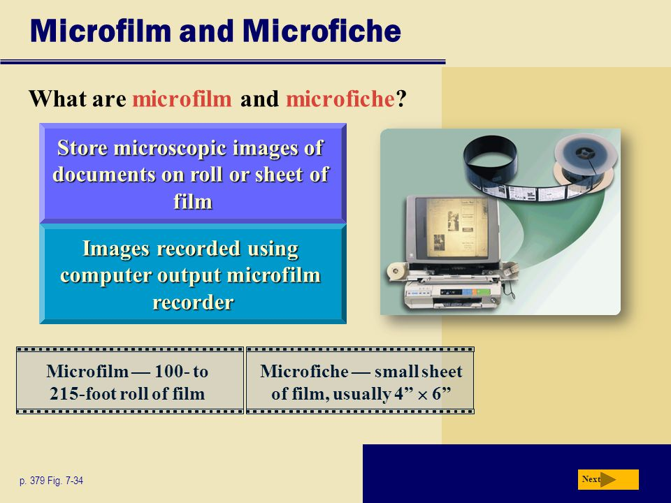 Microfilm and Microfiche What are microfilm and microfiche? p. 379 Fig. 7-34 Next Images recorded using computer output microfilm recorder Store micro