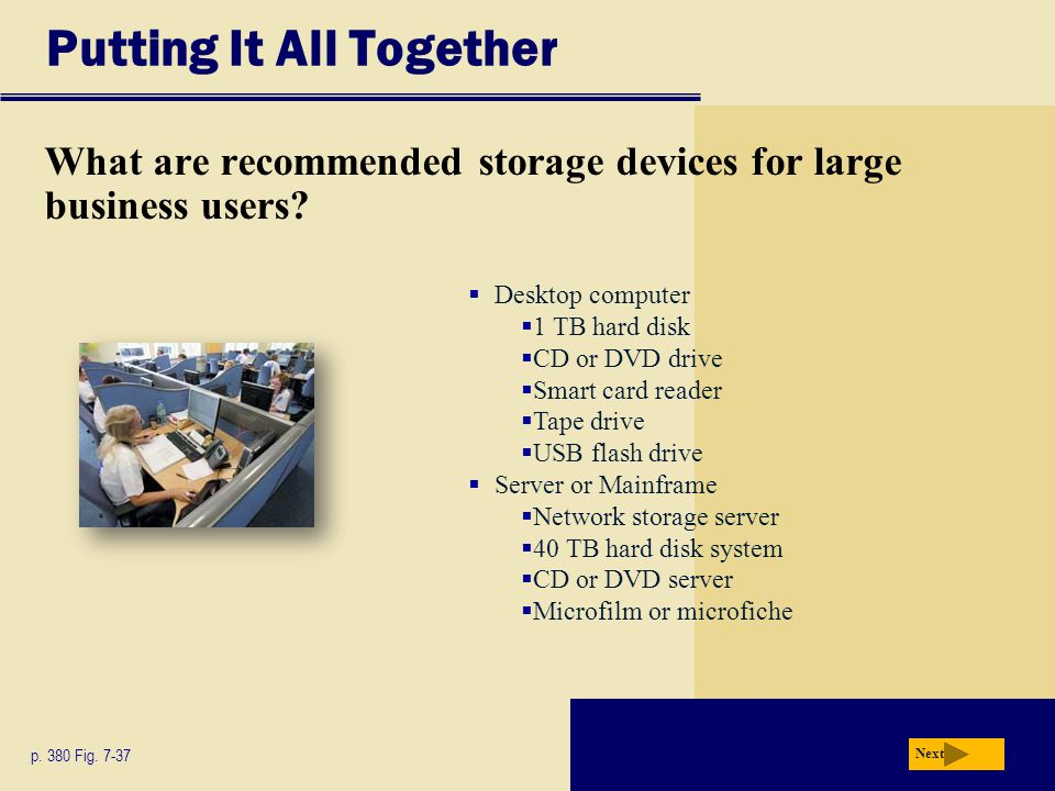 Putting It All Together What are recommended storage devices for large business users? p. 380 Fig. 7-37 Next Desktop computer 1 TB hard disk CD or DVD