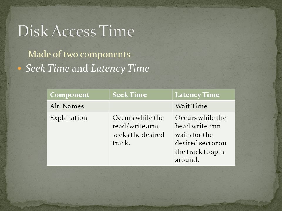 Made of two components- Seek Time and Latency Time ComponentSeek TimeLatency Time Alt.