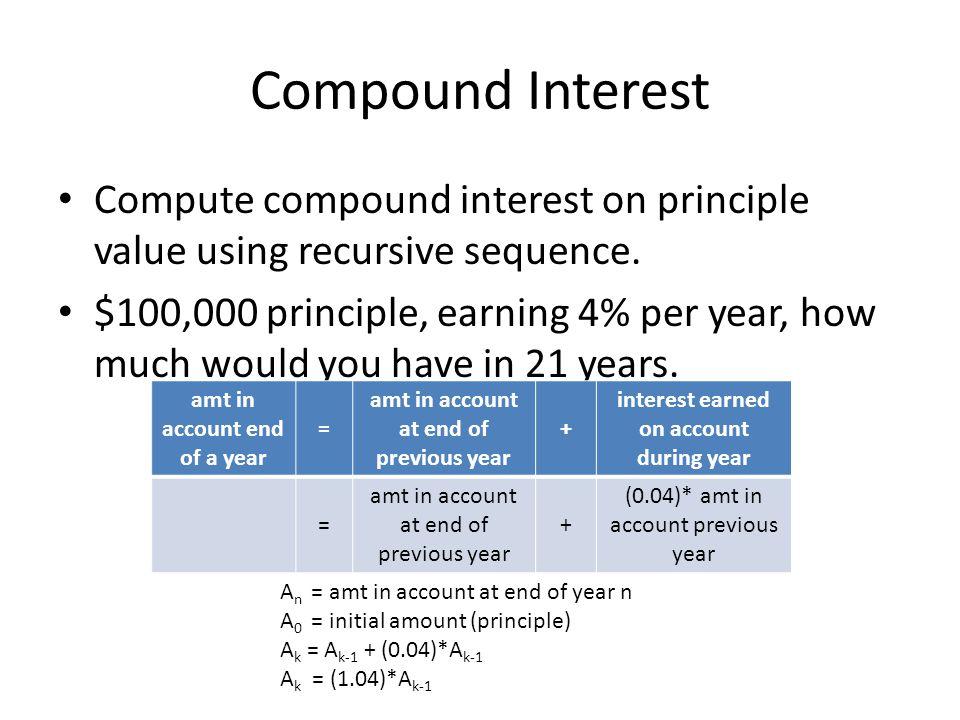 Compound Interest Compute compound interest on principle value using recursive sequence.
