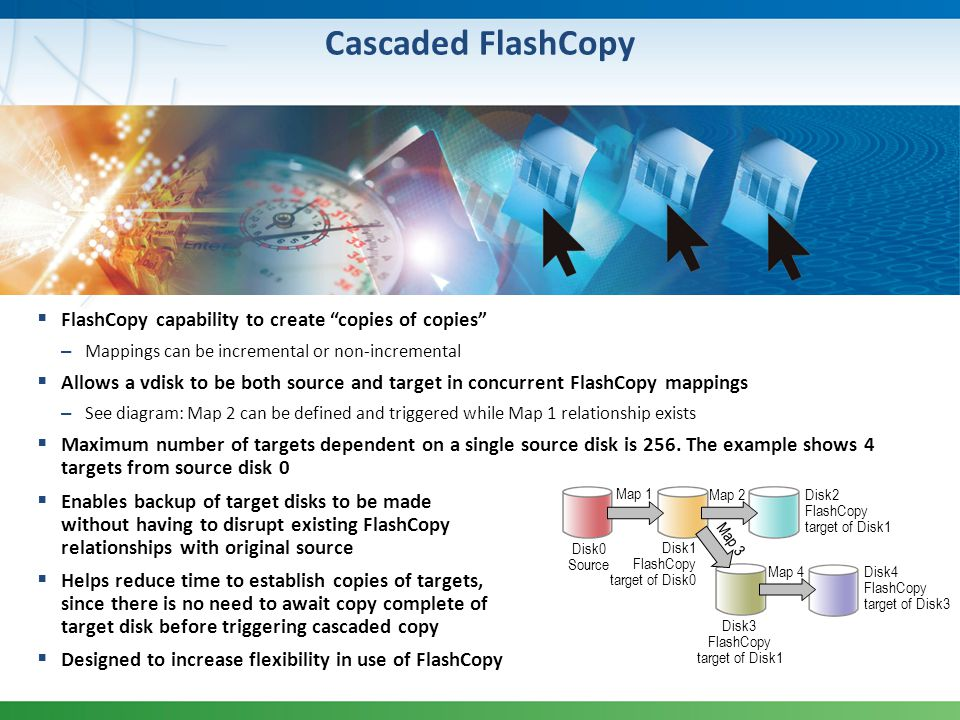Cascaded FlashCopy FlashCopy capability to create copies of copies – Mappings can be incremental or non-incremental Allows a vdisk to be both source a