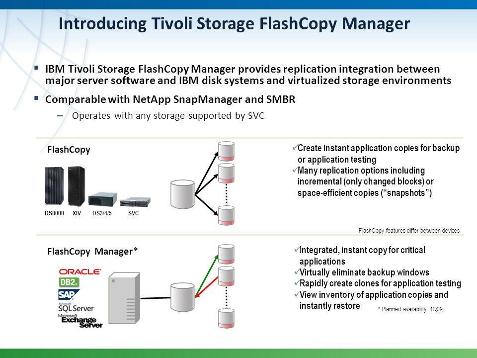 Introducing Tivoli Storage FlashCopy Manager IBM Tivoli Storage FlashCopy Manager provides replication integration between major server software and I
