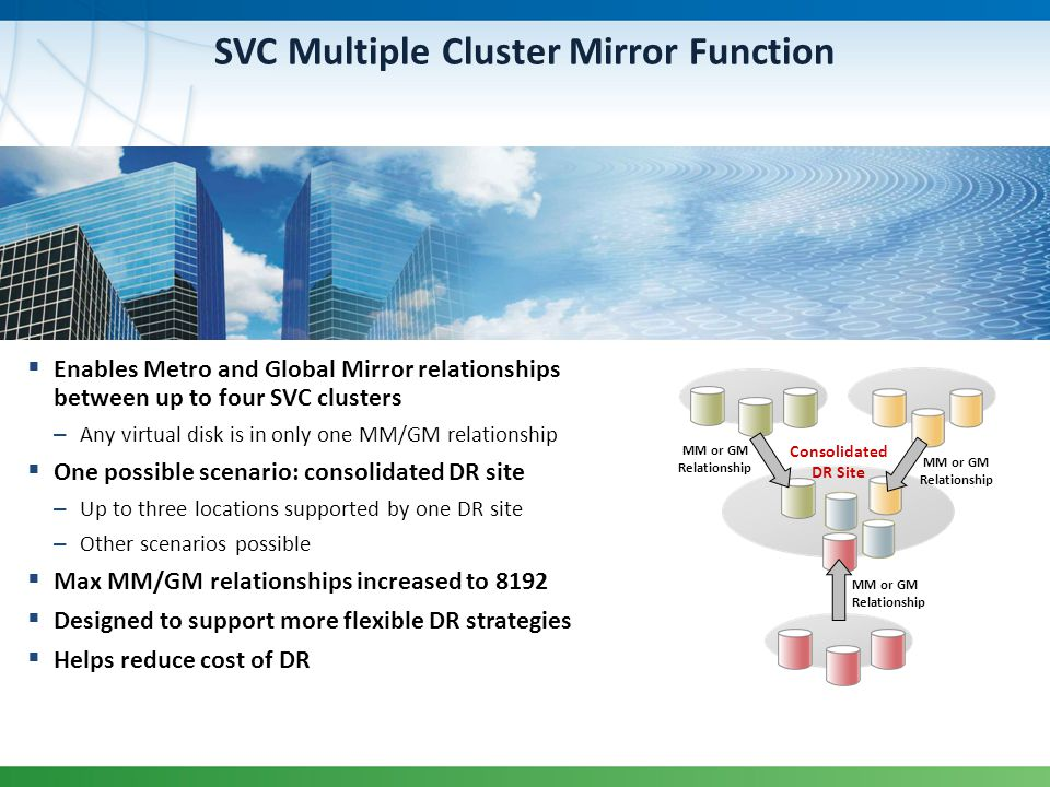 SVC Multiple Cluster Mirror Function Enables Metro and Global Mirror relationships between up to four SVC clusters – Any virtual disk is in only one M