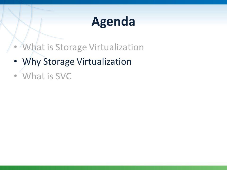 Agenda What is Storage Virtualization Why Storage Virtualization What is SVC