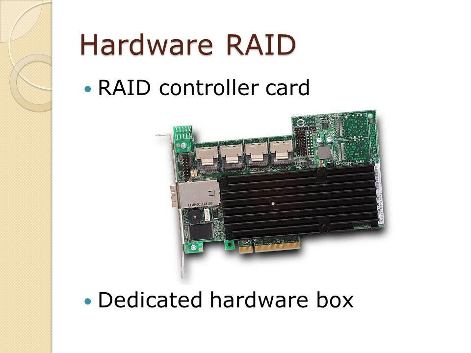 Hardware RAID RAID controller card Dedicated hardware box