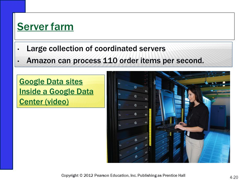 Large collection of coordinated servers Amazon can process 110 order items per second. Server farm 4-20 Copyright © 2012 Pearson Education, Inc. Publi