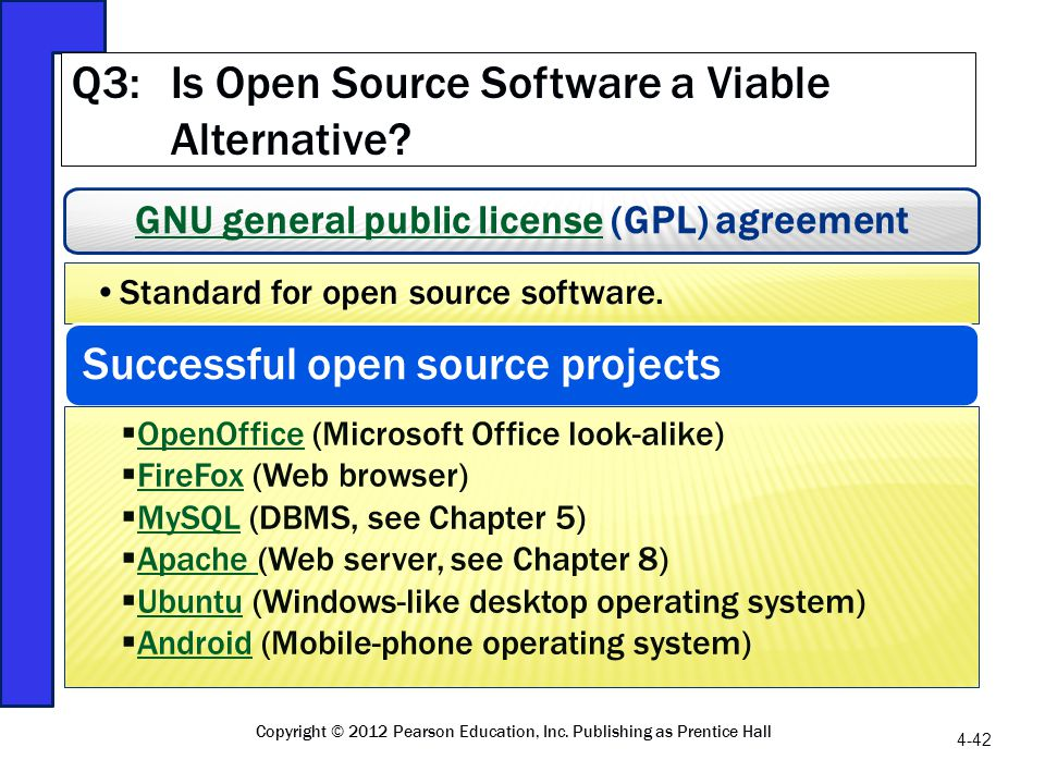 GNU general public licenseGNU general public license (GPL) agreement Standard for open source software. Successful open source projects OpenOffice (Mi