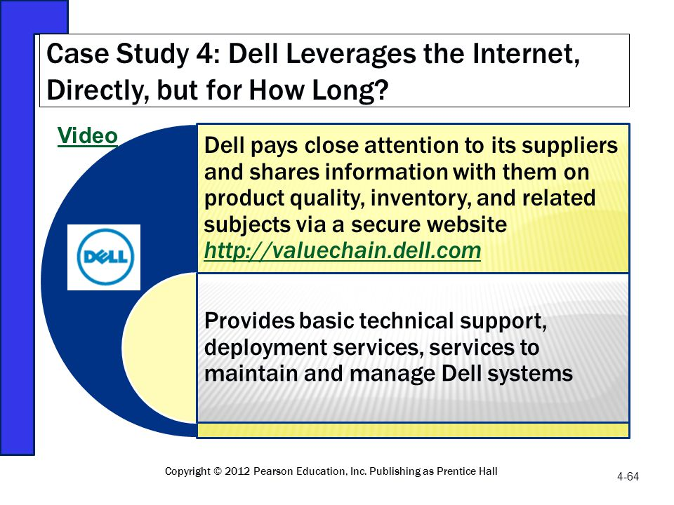 Dell pays close attention to its suppliers and shares information with them on product quality, inventory, and related subjects via a secure website h