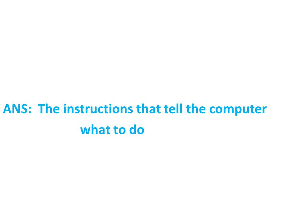 ANS: The instructions that tell the computer what to do