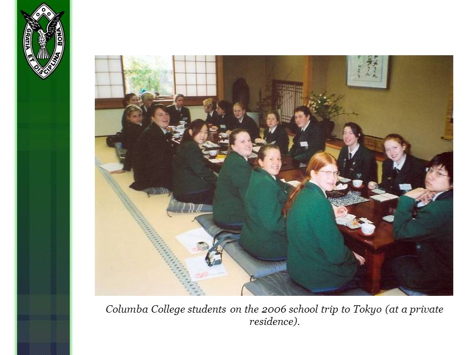 Columba College students on the 2006 school trip to Tokyo (at a private residence).
