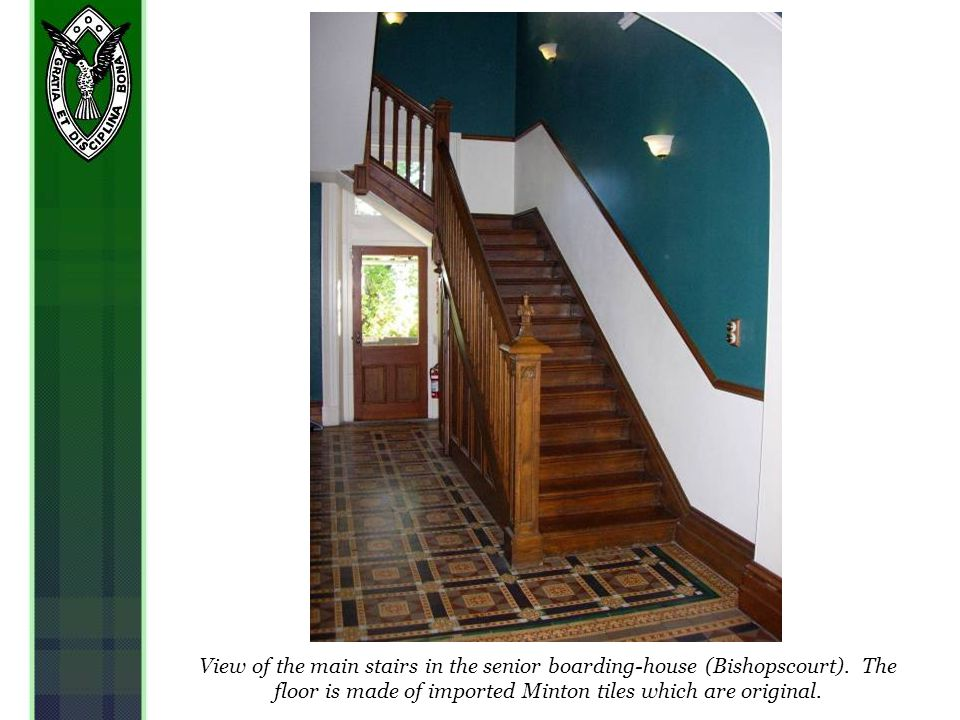 View of the main stairs in the senior boarding-house (Bishopscourt).