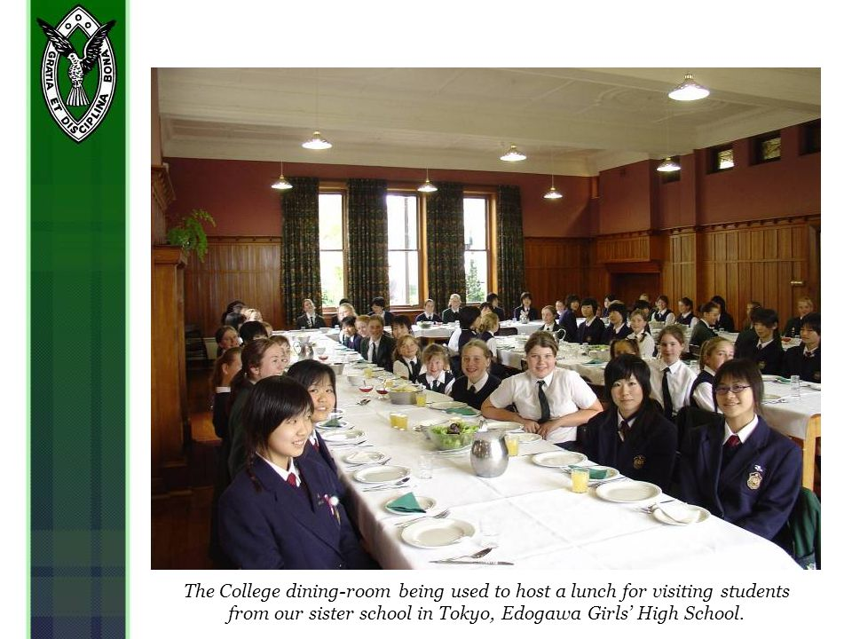 The College dining-room being used to host a lunch for visiting students from our sister school in Tokyo, Edogawa Girls High School.
