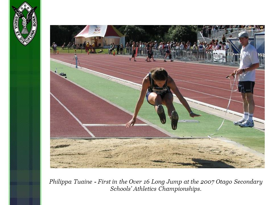 Philippa Tuaine - First in the Over 16 Long Jump at the 2007 Otago Secondary Schools Athletics Championships.