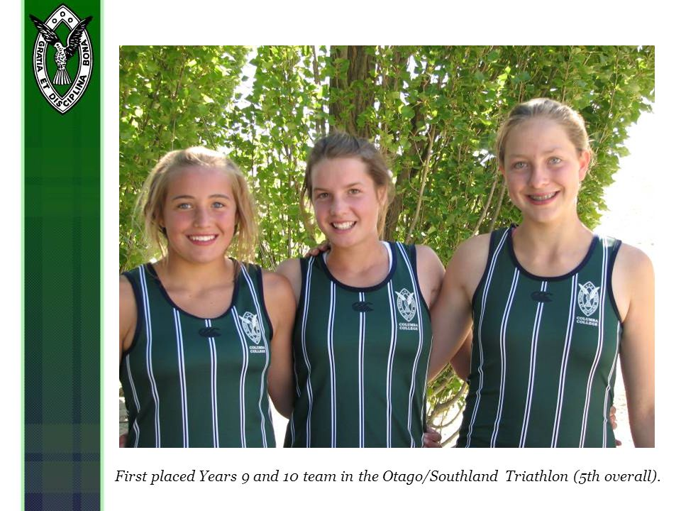First placed Years 9 and 10 team in the Otago/Southland Triathlon (5th overall).