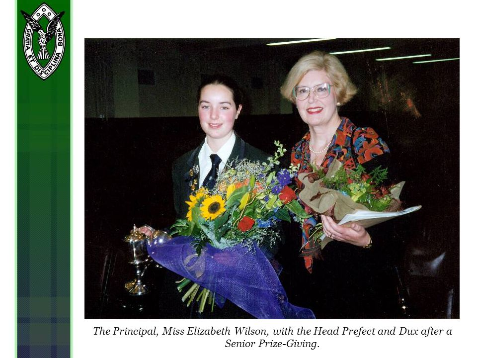The Principal, Miss Elizabeth Wilson, with the Head Prefect and Dux after a Senior Prize-Giving.