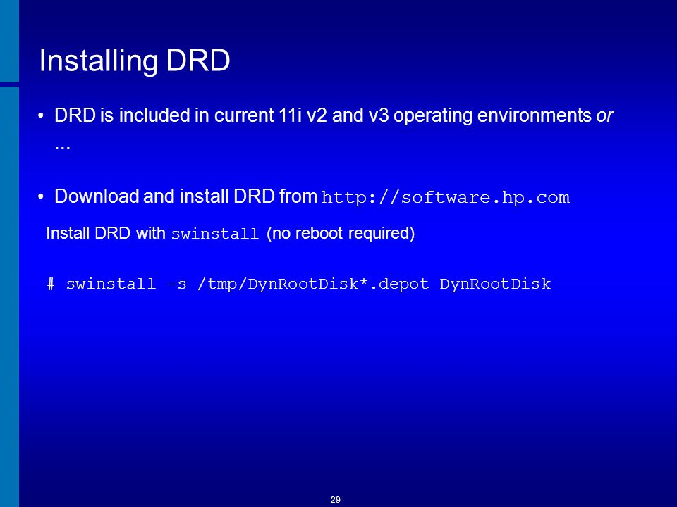 DRD Commands Example # drd clone –t /dev/disk/diskY –x overwrite=true Other available modes # drd view available modes and options # drd clone...