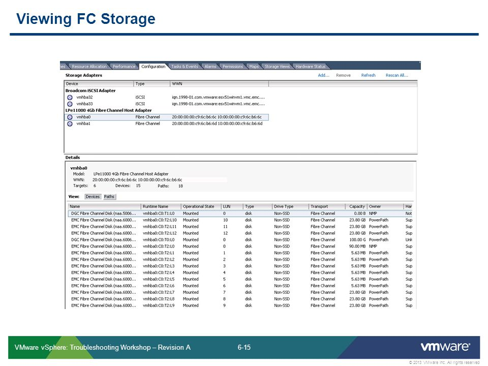 6-15 © 2013 VMware Inc. All rights reserved VMware vSphere: Troubleshooting Workshop – Revision A Viewing FC Storage