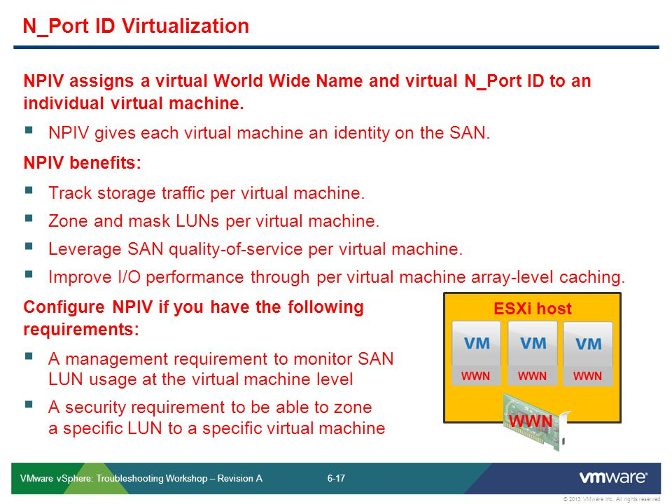 6-17 © 2013 VMware Inc. All rights reserved VMware vSphere: Troubleshooting Workshop – Revision A NPIV assigns a virtual World Wide Name and virtual N