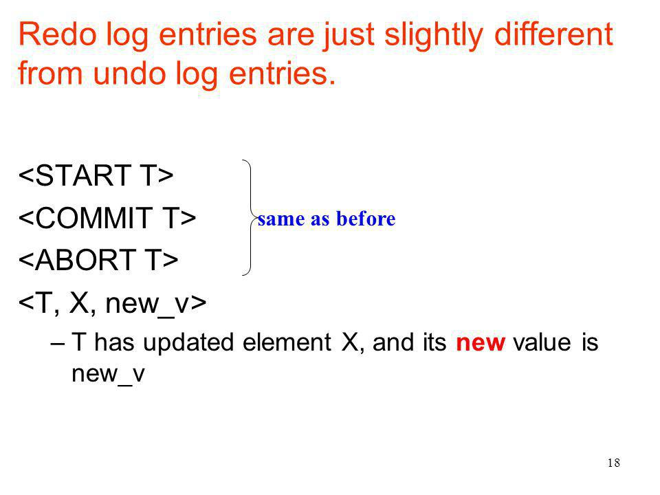18 Redo log entries are just slightly different from undo log entries.