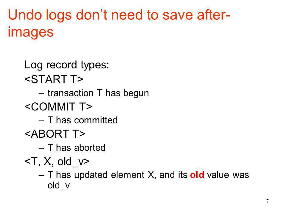 Undo logging has 2.5 rules.